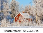 Red Cottage In Winter Forest...