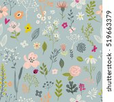 doodle floral seamless pattern | Shutterstock .eps vector #519663379