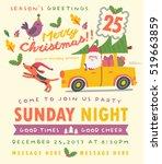 merry christmas card in vector. ... | Shutterstock .eps vector #519663859