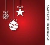 flat design christmas ball ... | Shutterstock .eps vector #519663997