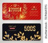 gift card with golden foil...   Shutterstock .eps vector #519664591