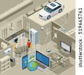 internet of things smart urban... | Shutterstock .eps vector #519665761