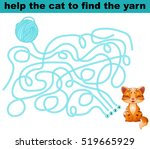help the cat to find the yarn | Shutterstock .eps vector #519665929