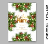 christmas party invitation with ... | Shutterstock .eps vector #519671305