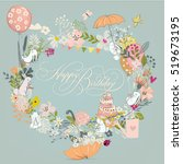 birthday frame with flowers and ... | Shutterstock .eps vector #519673195