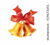 christmas golden bells with red ... | Shutterstock .eps vector #519673351