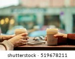 two young friends drinking... | Shutterstock . vector #519678211