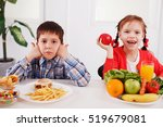 happy girl eating healthy food... | Shutterstock . vector #519679081