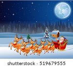 santa claus rides reindeer... | Shutterstock . vector #519679555