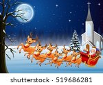 santa claus rides reindeer... | Shutterstock . vector #519686281