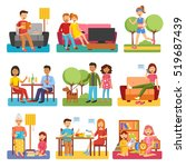 family flat style people... | Shutterstock . vector #519687439