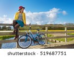 smiling woman sitting on a... | Shutterstock . vector #519687751