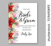 poinsettia wedding invitation... | Shutterstock .eps vector #519690895