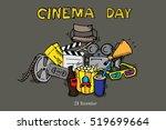 cinema day. flat vector... | Shutterstock .eps vector #519699664