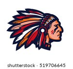 indian chief. logo or icon.... | Shutterstock .eps vector #519706645