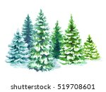 watercolor snowy forest... | Shutterstock . vector #519708601
