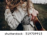 stylish hipster couple... | Shutterstock . vector #519709915