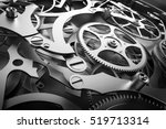 Inside mechanism, clockwork with working gears. Close-up, detailed. 3D rendering - stock photo