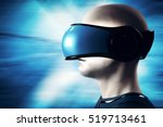 into virtual reality world. man ... | Shutterstock . vector #519713461