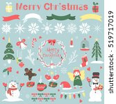 set of christmas items   new... | Shutterstock .eps vector #519717019