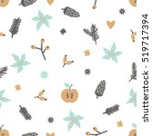 winter seamless pattern with... | Shutterstock .eps vector #519717394