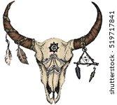 skull of bison   buffalo skull... | Shutterstock .eps vector #519717841