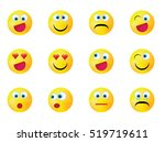 smiley faces expressing... | Shutterstock .eps vector #519719611