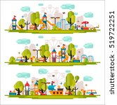 kids playground. swings ... | Shutterstock . vector #519722251