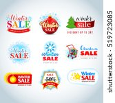 colorful winter sale emblems ... | Shutterstock .eps vector #519723085