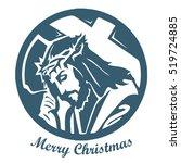 jesus christ with cross. real... | Shutterstock .eps vector #519724885
