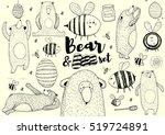 hand drawn bee an bear set....   Shutterstock .eps vector #519724891