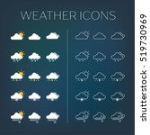 set of weather icons with dark...
