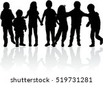 vector silhouette of children... | Shutterstock .eps vector #519731281