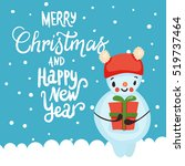 christmas card with snowman ... | Shutterstock .eps vector #519737464