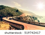 bixby creek bridge on highway ... | Shutterstock . vector #519742417