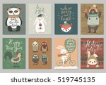 christmas card set  hand drawn... | Shutterstock .eps vector #519745135