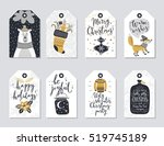 christmas tags set  hand drawn... | Shutterstock .eps vector #519745189