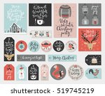 christmas cards and tags set ... | Shutterstock .eps vector #519745219