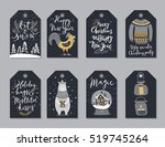 christmas tags set  hand drawn... | Shutterstock .eps vector #519745264