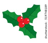flat icon holly with red... | Shutterstock .eps vector #519748189