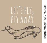airplane sketch. hand drawn...   Shutterstock . vector #519750931