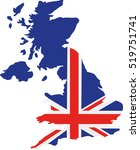 united kingdom map with flag | Shutterstock .eps vector #519751741