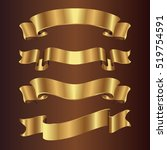 set of golden ribbons on brown... | Shutterstock .eps vector #519754591