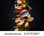 dried fish  squid and crackers  ... | Shutterstock . vector #519757897