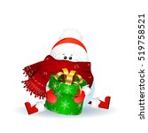 cute snowman with scarf  red...   Shutterstock .eps vector #519758521
