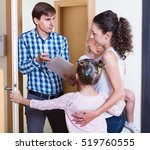 frightened mother with two kids ...   Shutterstock . vector #519760555