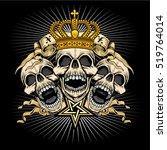 gothic banner with skull ... | Shutterstock .eps vector #519764014