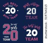 the best girls team college... | Shutterstock .eps vector #519764215