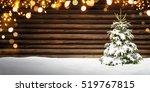 christmas frame with wooden...   Shutterstock . vector #519767815