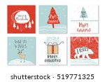 set of 6 cute gift cards and... | Shutterstock .eps vector #519771325